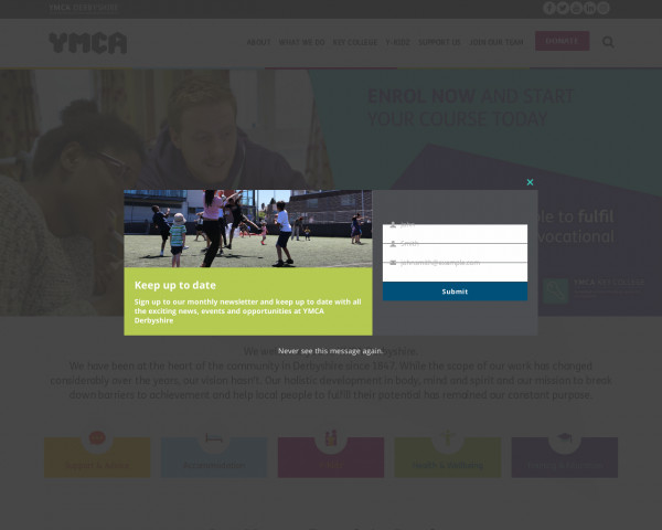Desktop screenshot of YMCA Derbyshire website