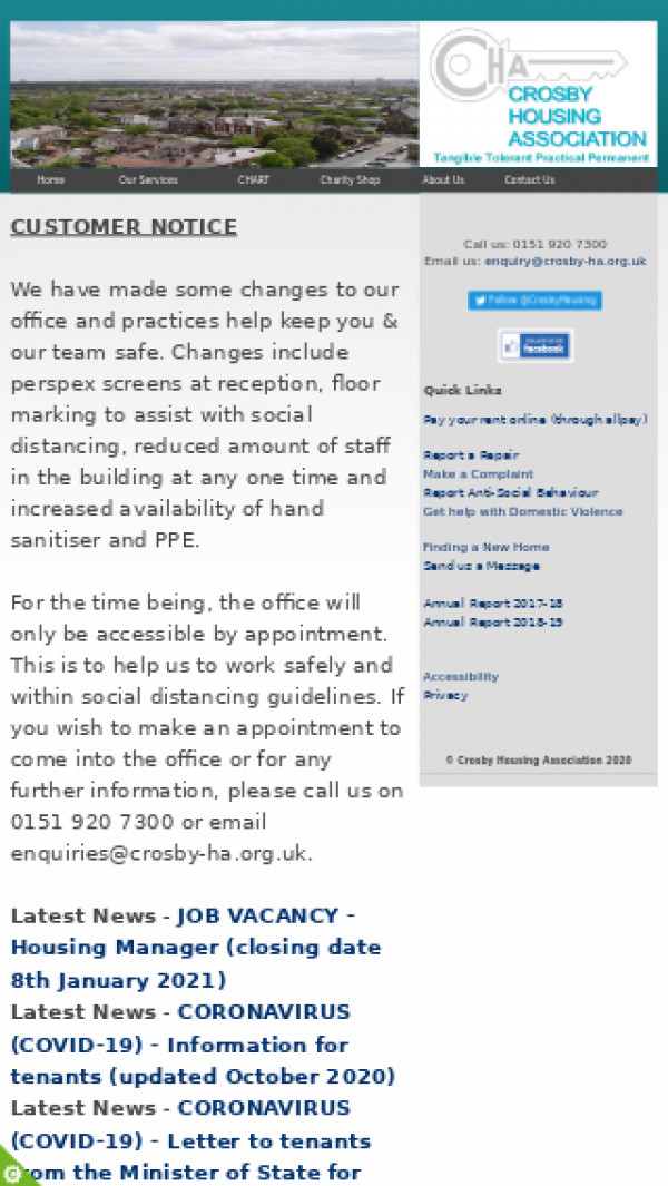 Mobile screenshot of Crosby Housing Association Limited website