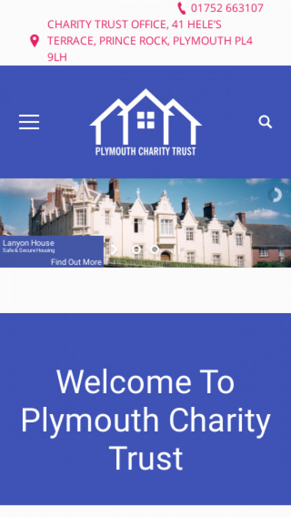 Screenshot of Home   Plymouth Charity trust