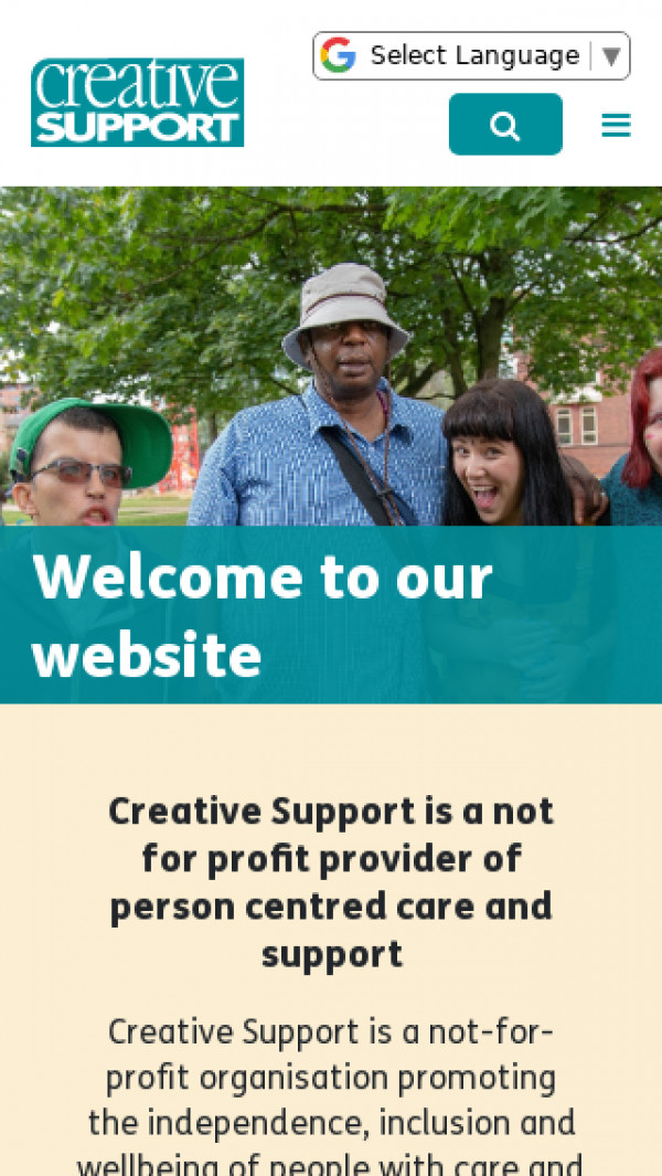 Mobile screenshot of Creative Support Limited website