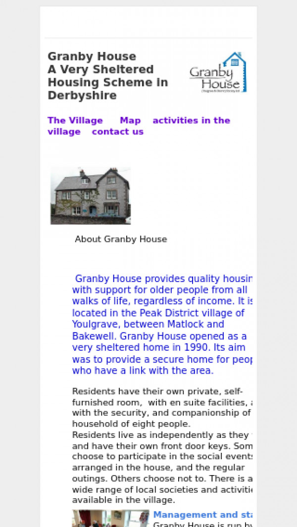 Mobile screenshot of Granby House (Youlgrave and District) Society Ltd website