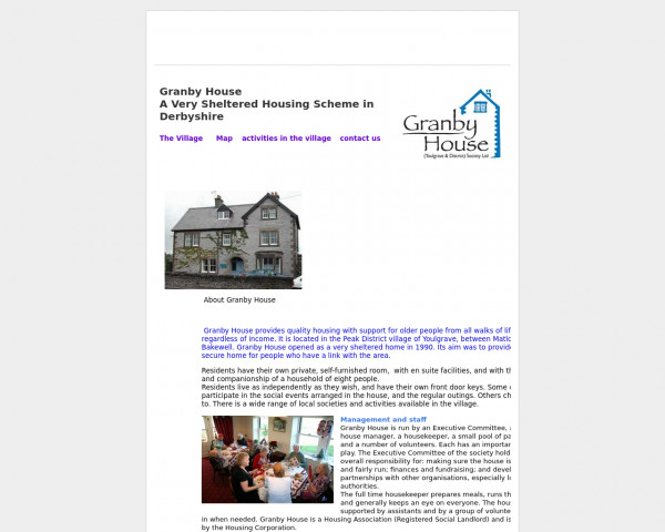 Desktop screenshot of Granby House (Youlgrave and District) Society Ltd website