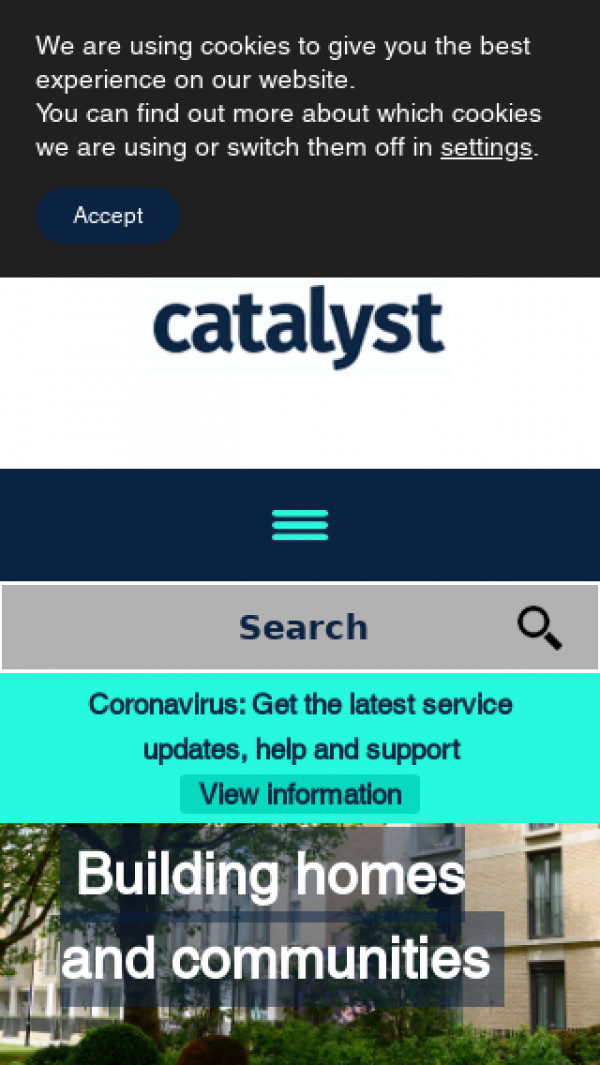 Mobile screenshot of Catalyst Housing Limited website
