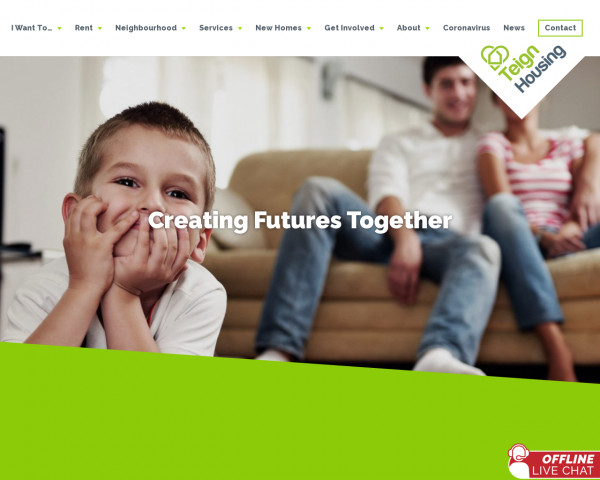 Desktop screenshot of Teign Housing website
