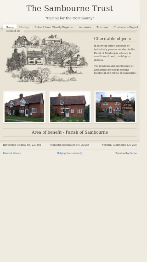 Mobile screenshot of Sambourne Trust website