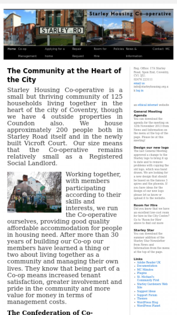 Mobile screenshot of Starley Housing Co-operative Limited website