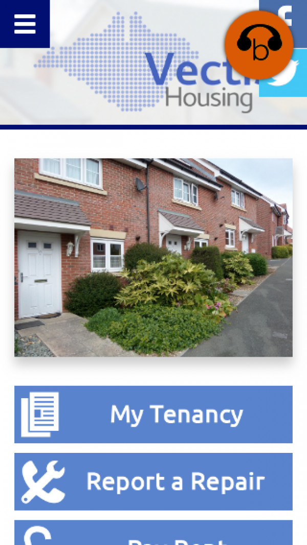 Mobile screenshot of Vectis Housing Association Limited website