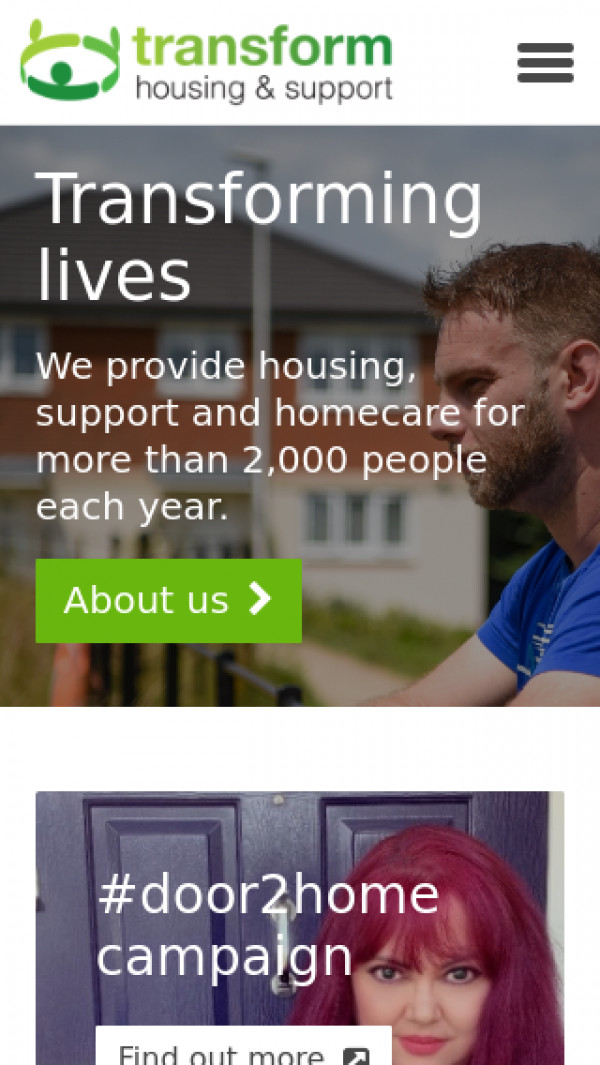 Mobile screenshot of Transform Housing & Support website