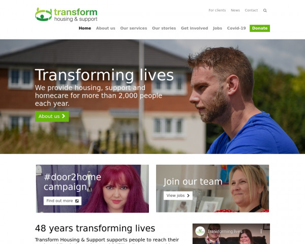 Desktop screenshot of Transform Housing & Support website