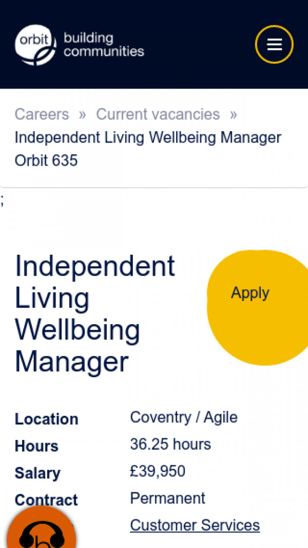 Screenshot of Independent Living Wellbeing Manager Orbit 635