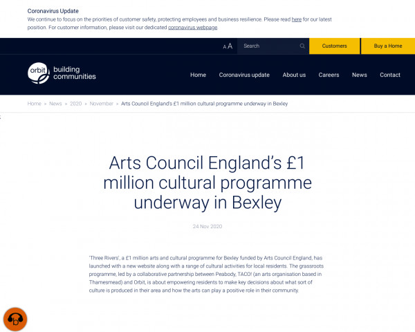 Screenshot of Arts Council England's £1 million cultural programme underway in Bexley