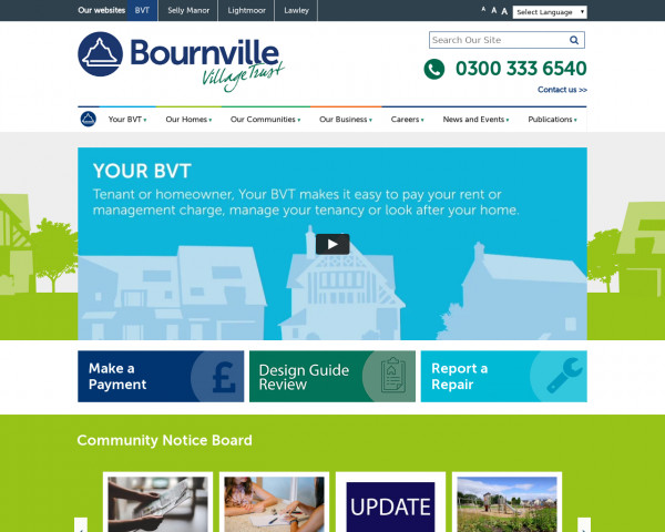 Screenshot of Bournville Village Trust