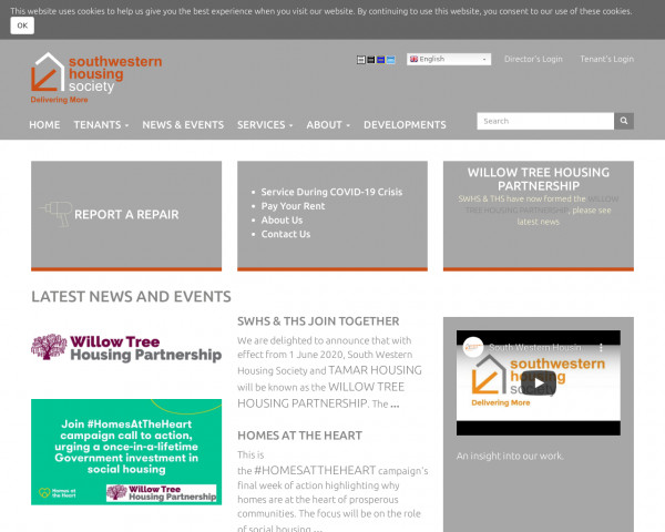 Screenshot of South Western Housing Society |