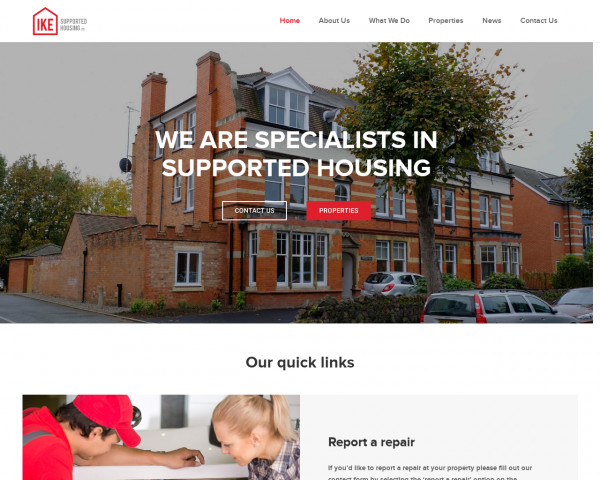 Desktop screenshot of IKE Supported Housing Limited website