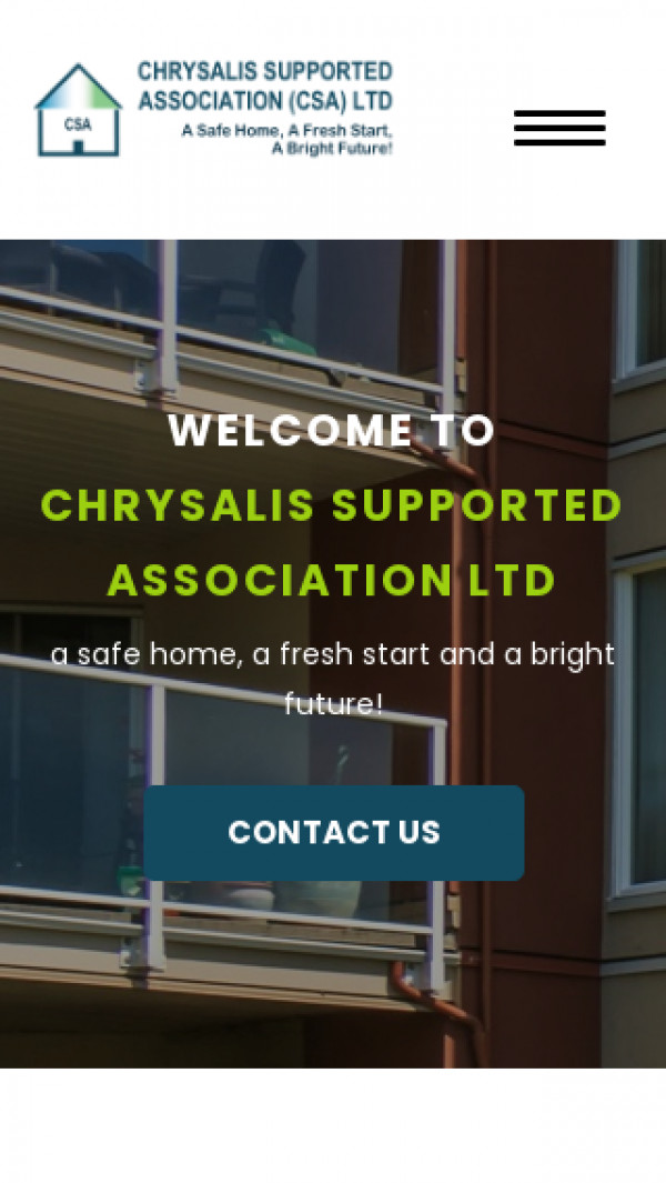 Mobile screenshot of Chrysalis Supported Association Limited website