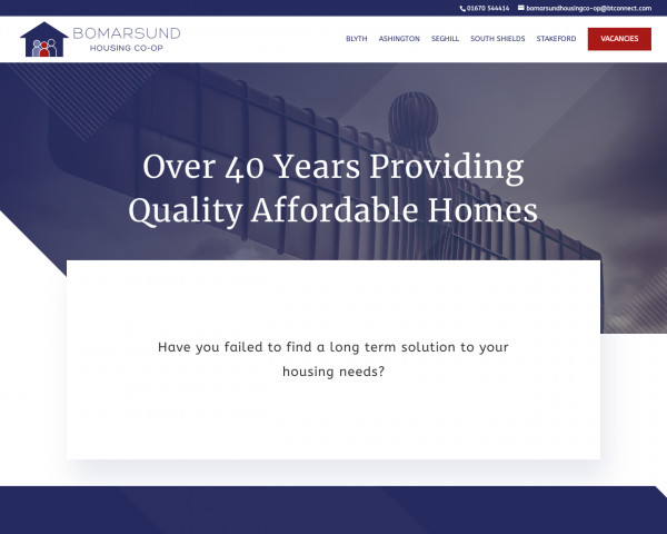 Desktop screenshot of Bomarsund Housing Co-operative Limited website