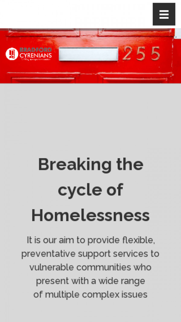 Screenshot of Bradford Cyrenians - Breaking the Cycle of Homelessness