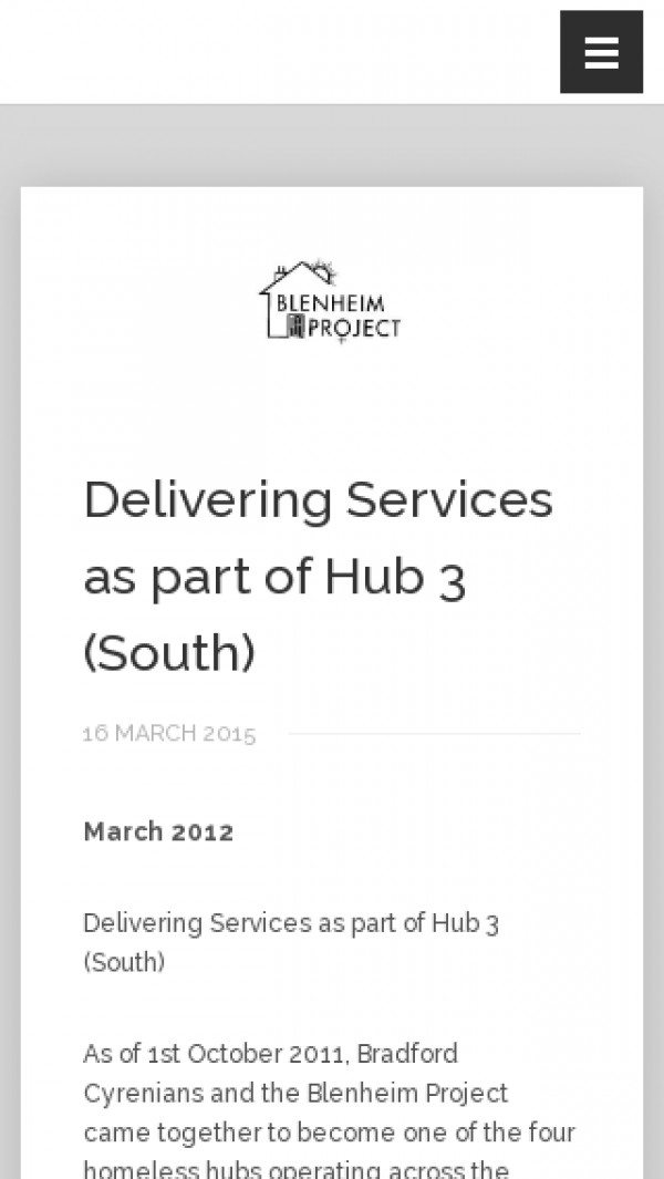 Screenshot of Delivering Services as part of Hub 3 (South) - Bradford Cyrenians