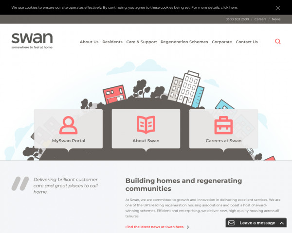 Screenshot of Swan-Housing | Delivering brilliant customer care and great places to call home.