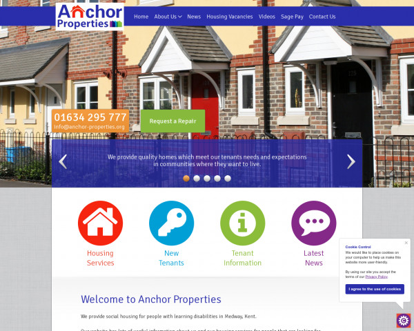 Screenshot of Anchor Property - Providing Housing & supported housing services based in Medway