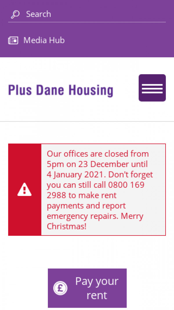Mobile screenshot of Plus Dane Housing Limited website