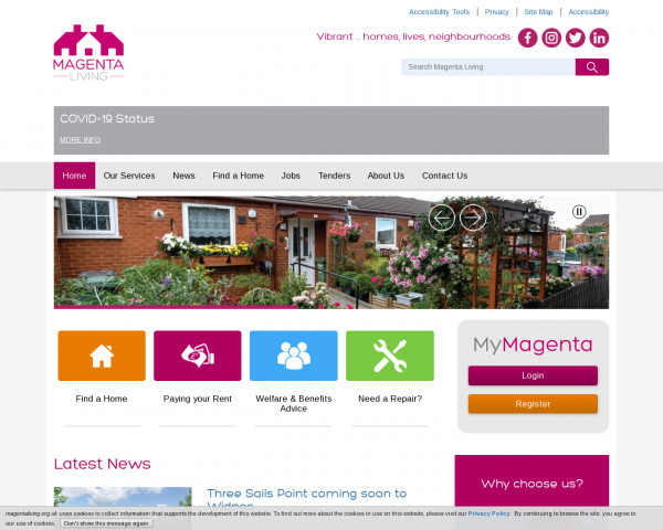 Screenshot of Welcome to Magenta Living housing association in Wirral | Magenta Living