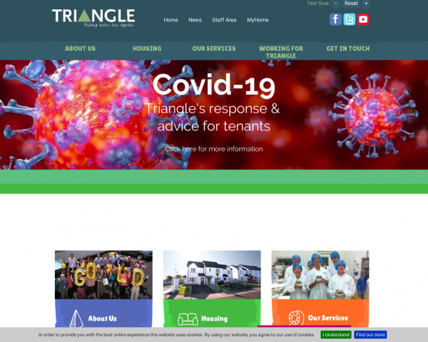 Desktop screenshot of Triangle Housing Co-operative Limited website