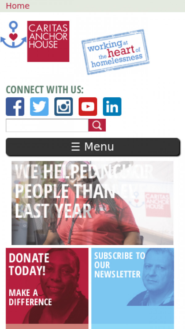 Mobile screenshot of Caritas Anchor House website