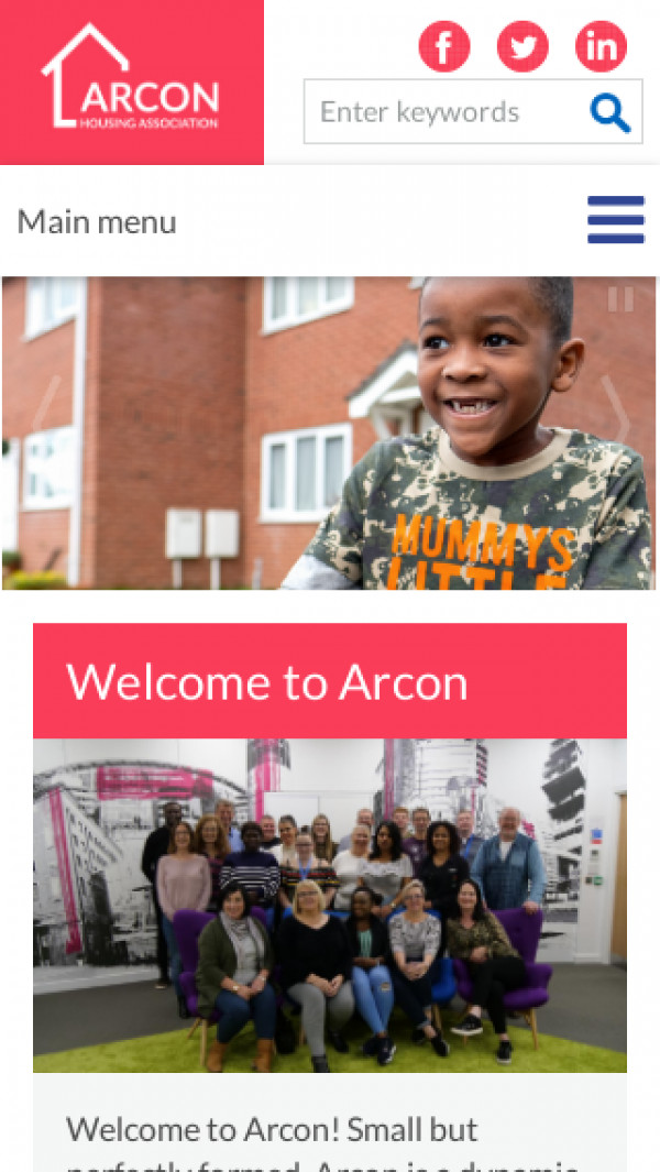 Mobile screenshot of Arcon Housing Association Limited website