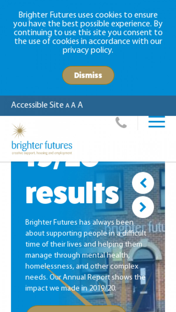 Mobile screenshot of Brighter Futures Housing Association Limited website