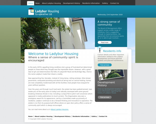 Desktop screenshot of Ladybur Housing Co-operative Limited website