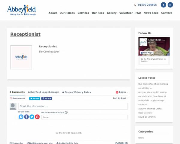 Screenshot of Receptionist | Abbeyfield Loughborough | Page 1509212623
