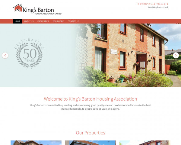 Desktop screenshot of King's Barton Housing Association Limited website
