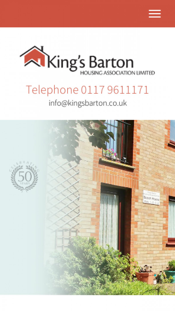 Mobile screenshot of King's Barton Housing Association Limited website