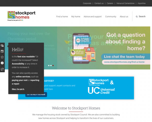 Desktop screenshot of Stockport Homes Limited website