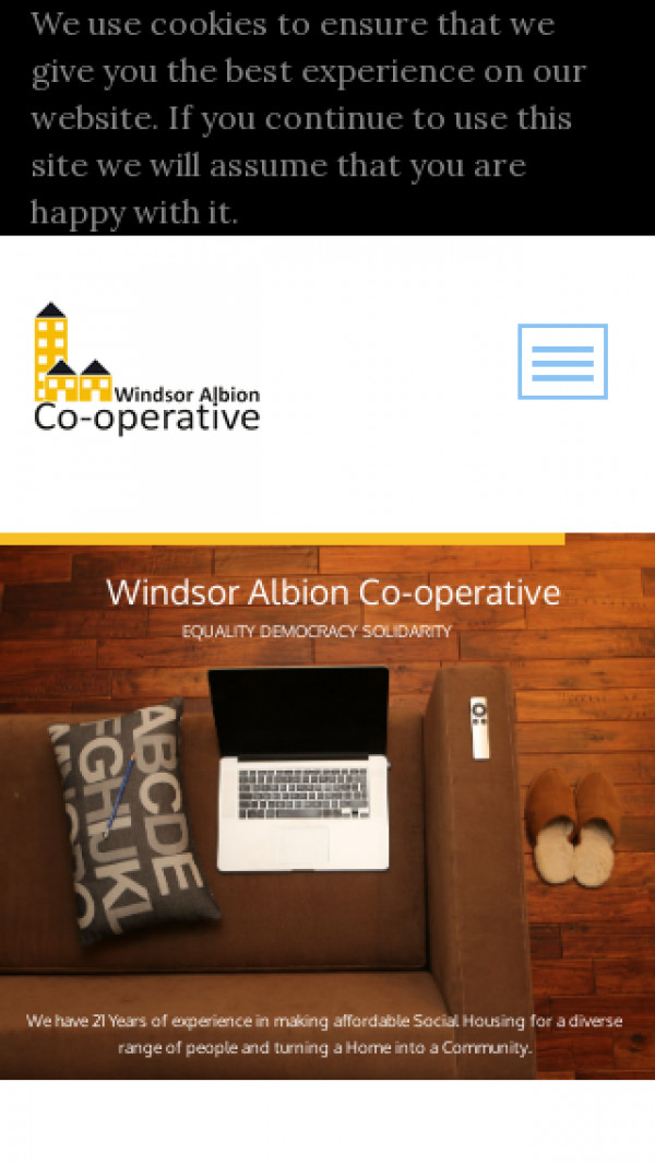 Mobile screenshot of Albion Housing Co-operative Limited website