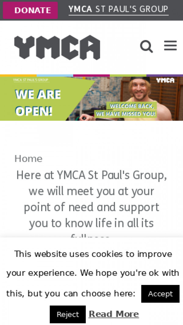 Mobile screenshot of West London YMCA website