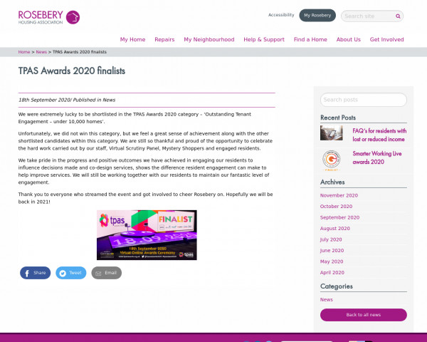 Screenshot of TPAS Awards 2020 finalists - Rosebery Housing Association