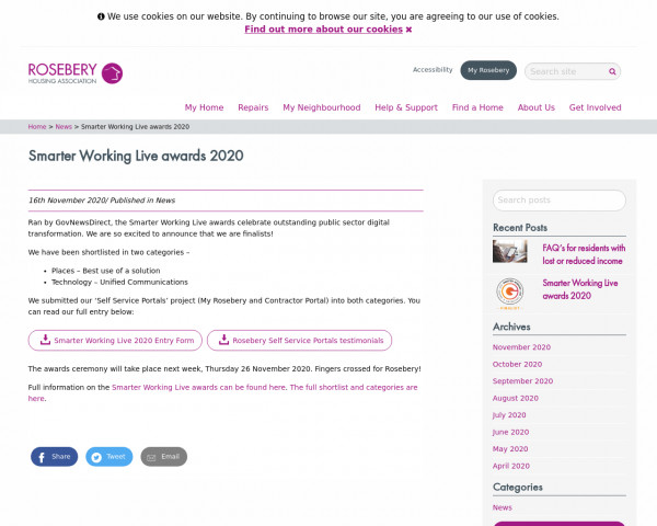 Screenshot of Smarter Working Live awards 2020 - Rosebery Housing Association