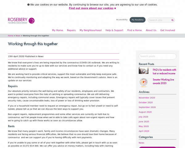 Screenshot of Working through this together - Rosebery Housing Association