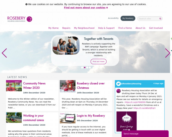 Desktop screenshot of Rosebery Housing Association Limited website