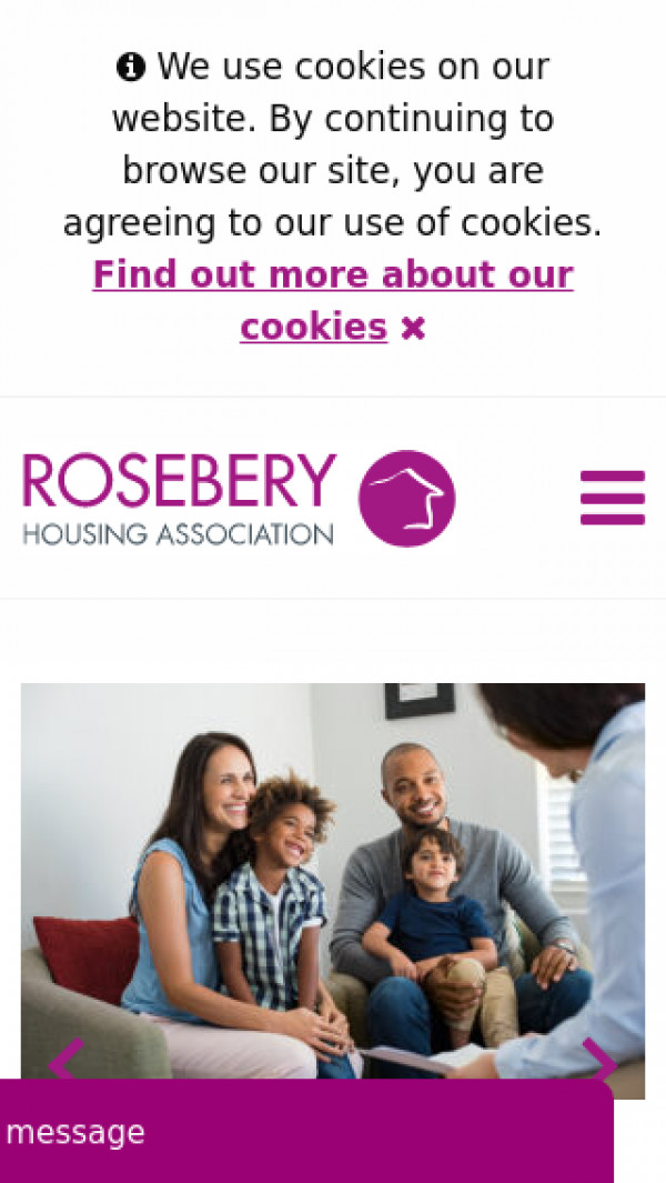 Mobile screenshot of Rosebery Housing Association Limited website