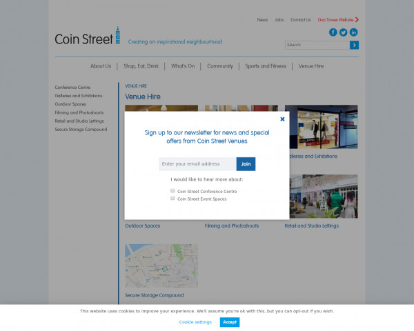 Screenshot of Coin Street - Venue Hire on the South Bank, London, SE1