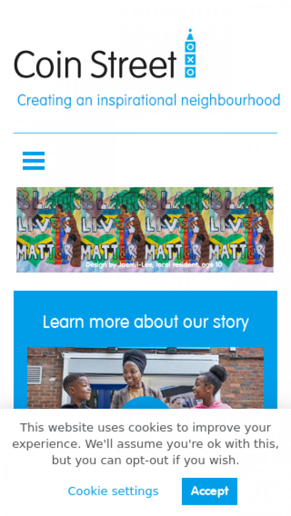 Mobile screenshot of Coin Street Secondary Housing Co-operative Limited website
