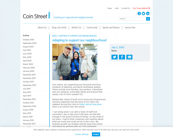 Screenshot of Adapting to support our neighbourhood - Coin Street Community Builders