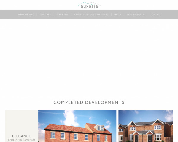 Desktop screenshot of Auxesia Homes Limited website