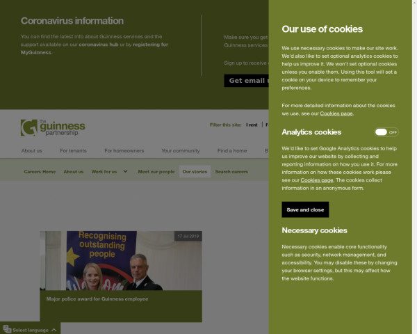 Screenshot of Our stories - The Guinness Partnership