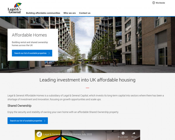 Screenshot of Legal & General Affordable Homes Limited