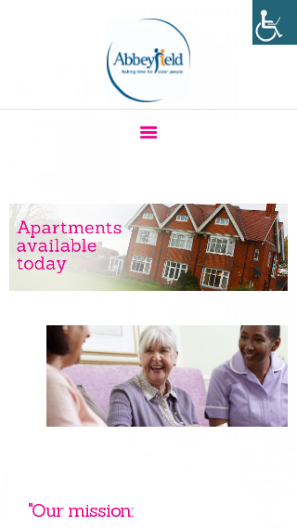 Mobile screenshot of The Abbeyfield (Darlington) Society Limited website