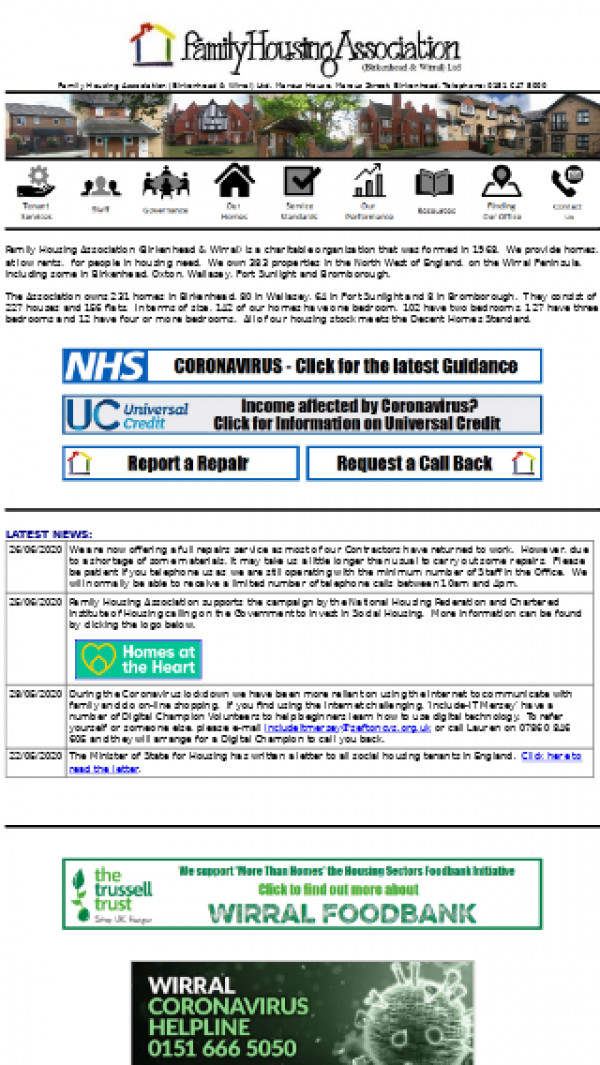 Mobile screenshot of Family Housing Association (Birkenhead and Wirral) Limited website